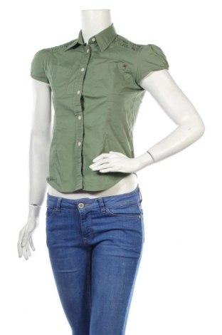 Дамска риза DKNY Jeans, Размер M, Цвят Зелен, 98% памук, 2% еластан, Цена 13,65лв.