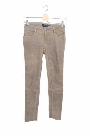 Дамски кожен панталон Arma, Размер XXS, Цвят Бежов, Естествена кожа, Цена 52,52лв.