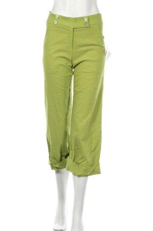 Дамски панталон Made In Italy, Размер S, Цвят Зелен, 70% вискоза, 27% полиестер, 3% еластан, Цена 7,47лв.