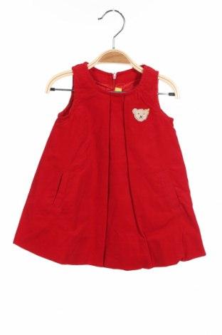 Детска рокля Steiff, Размер 6-9m/ 68-74 см, Цвят Червен, Памук, Цена 13,80лв.