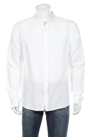 Ανδρικό πουκάμισο Bershka, Μέγεθος XL, Χρώμα Λευκό, 53% λινό, 47% βαμβάκι, Τιμή 11,11€