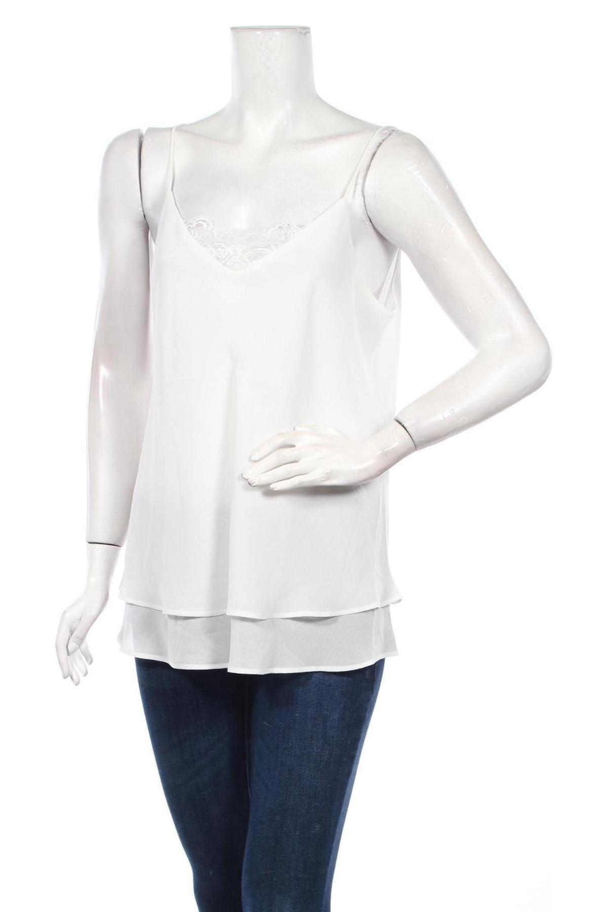 Γυναικείο αμάνικο μπλουζάκι Pieces, Μέγεθος XS, Χρώμα Λευκό, Πολυεστέρας, Τιμή 3,91€