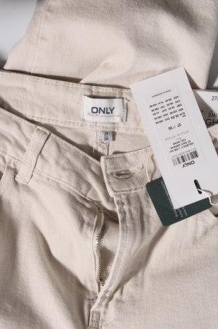 Дамски дънки ONLY, Размер S, Цвят Бежов, 99% памук, 1% еластан, Цена 26,91лв.