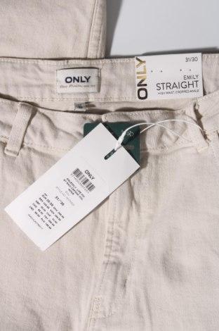 Дамски дънки ONLY, Размер L, Цвят Бежов, 99% памук, 1% еластан, Цена 26,91лв.