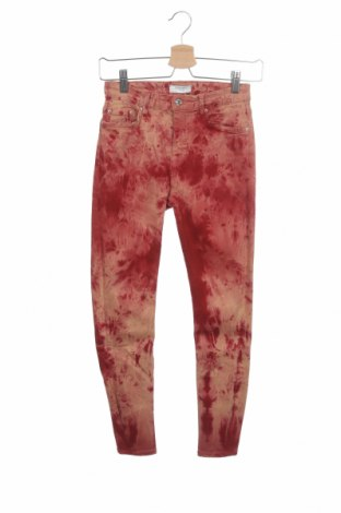 Дамски дънки Zara, Размер XS, Цвят Червен, 78% памук, 15% лиосел, 5% полиестер, 2% еластан, Цена 20,35лв.