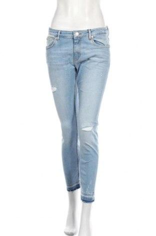 Дамски дънки Zara, Размер L, Цвят Син, 93% памук, 4% еластан, 3% полиестер, Цена 24,36лв.