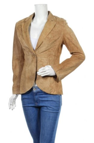 Дамско кожено сако Arma, Размер M, Цвят Кафяв, Естествен велур, Цена 84,32лв.
