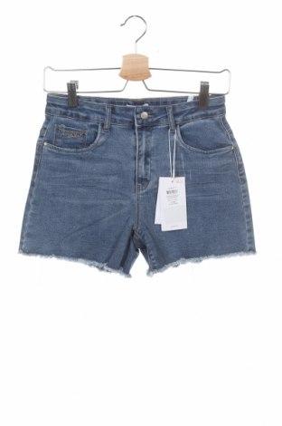 Pantaloni scurți pentru copii Name It, Mărime 12-13y/ 158-164 cm, Culoare Albastru, 71% bumbac, 24% poliester, 3% viscoză, 2% elastan, Preț 37,63 Lei
