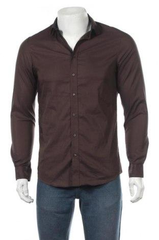 Мъжка риза Angelo Litrico, Размер S, Цвят Кафяв, 60% памук, 35% полиамид, 5% еластан, Цена 6,25лв.