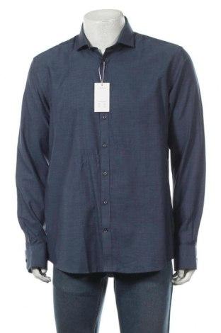 Мъжка риза Bruun & Stengade, Размер XL, Цвят Син, Памук, Цена 27,65лв.