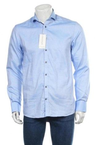 Мъжка риза Bruun & Stengade, Размер M, Цвят Син, Памук, Цена 27,65лв.