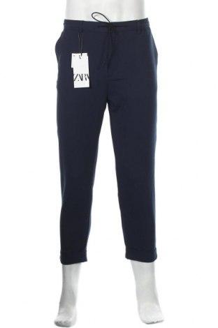 Мъжки панталон Zara, Размер L, Цвят Син, 48% полиестер, 46% вискоза, 6% еластан, Цена 20,70лв.