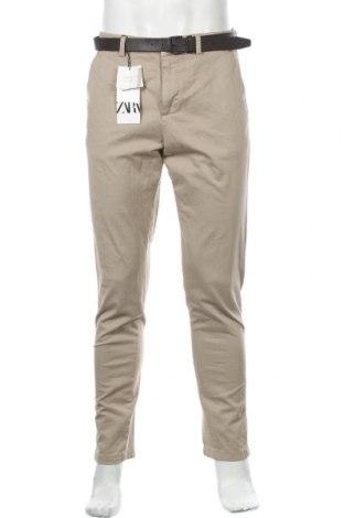 Мъжки панталон Zara, Размер M, Цвят Бежов, 97% памук, 3% еластан, Цена 20,70лв.
