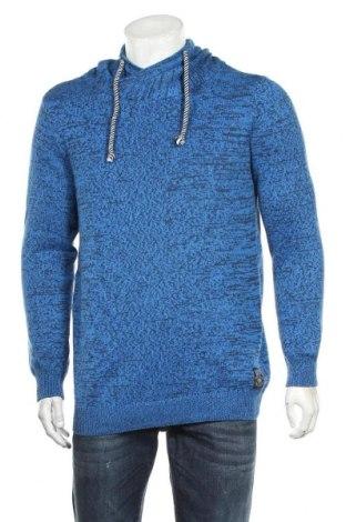 Мъжки пуловер John Devin, Размер L, Цвят Син, 50% памук, 50% полиестер, Цена 23,21лв.