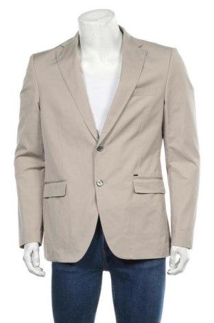 Мъжко сако Zara Man, Размер XL, Цвят Бежов, 50% памук, 47% полиамид, 3% еластан, Цена 45,36лв.