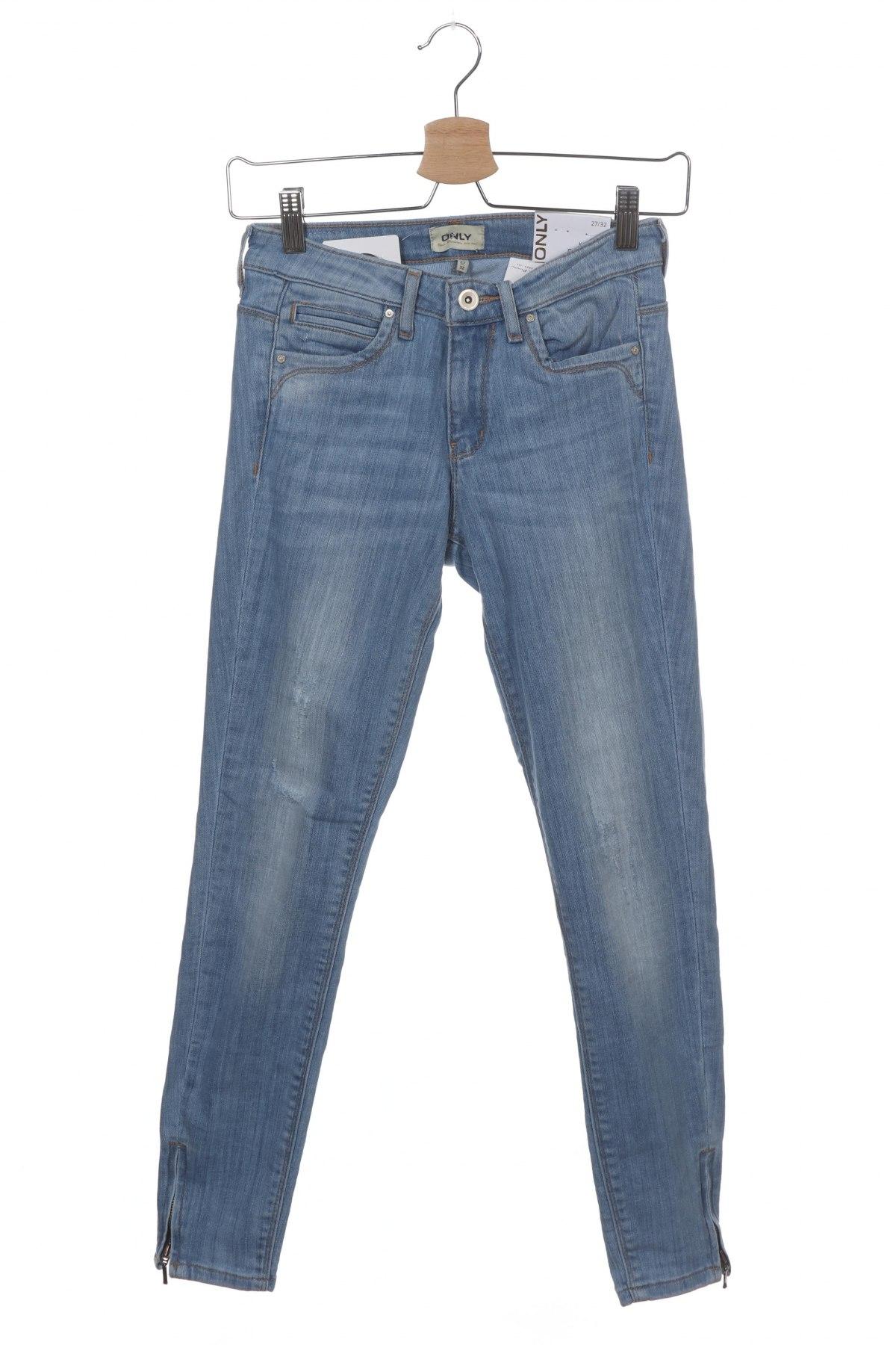 Дамски дънки ONLY, Размер S, Цвят Син, 84% памук, 14% полиестер, 2% еластан, Цена 19,32лв.