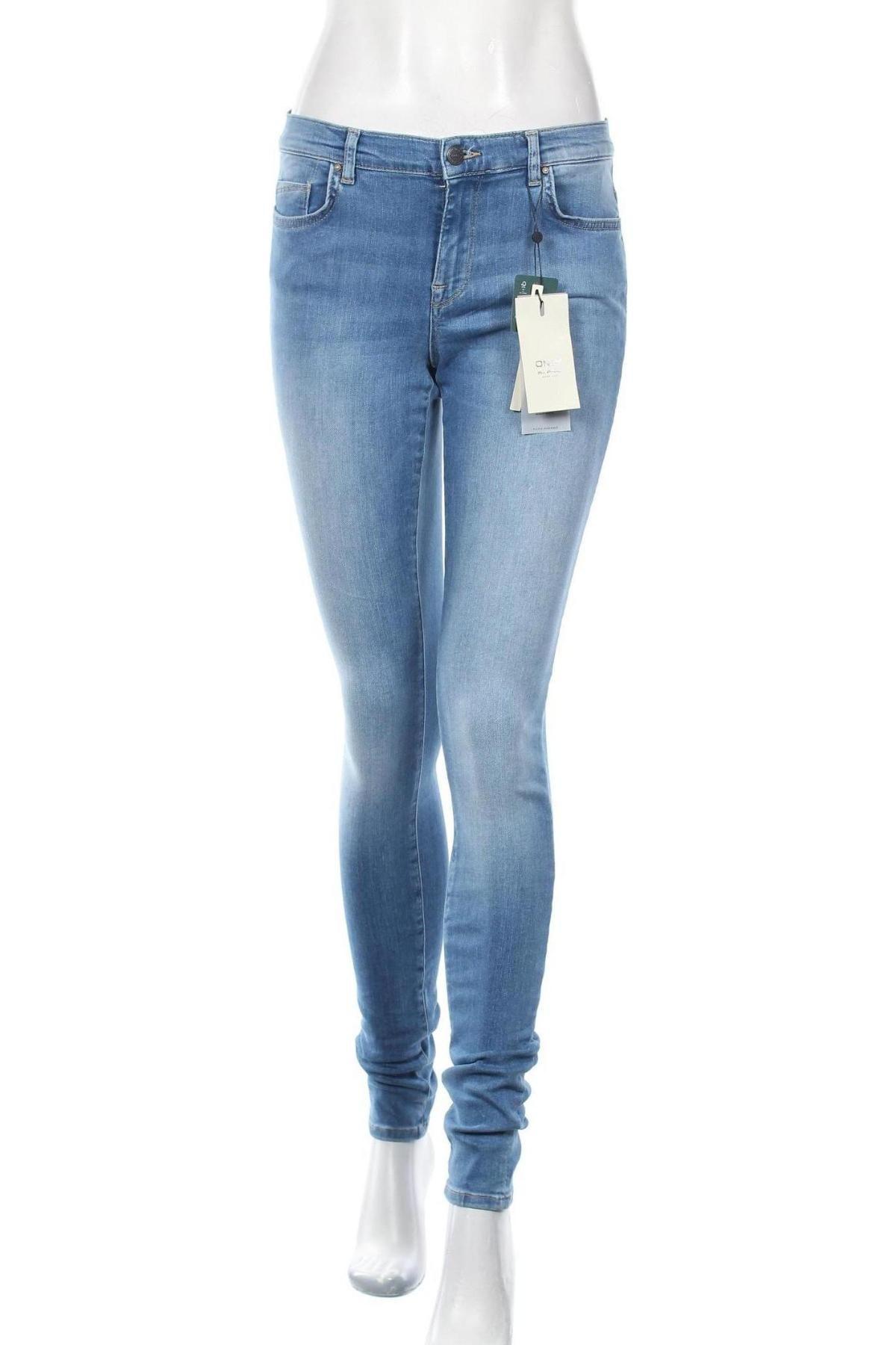 Дамски дънки ONLY, Размер L, Цвят Син, 94% памук, 4% полиестер, 2% еластан, Цена 54,00лв.