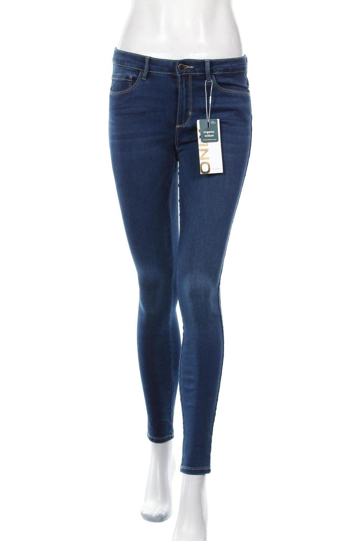 Дамски дънки ONLY, Размер M, Цвят Син, 69% памук, 29% полиестер, 2% еластан, Цена 40,50лв.