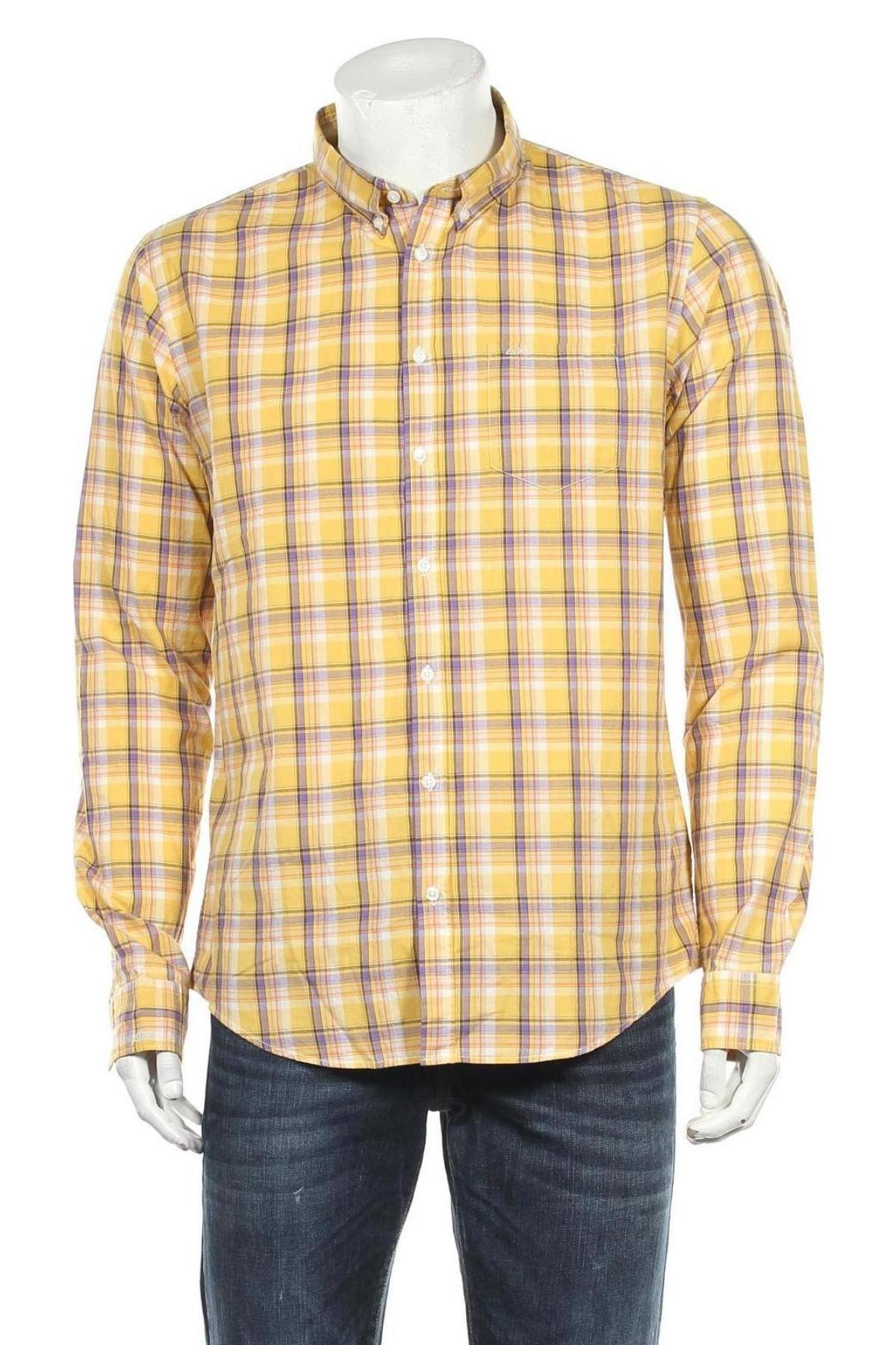 Мъжка риза SUN68, Размер XL, Цвят Жълт, Памук, Цена 13,31лв.