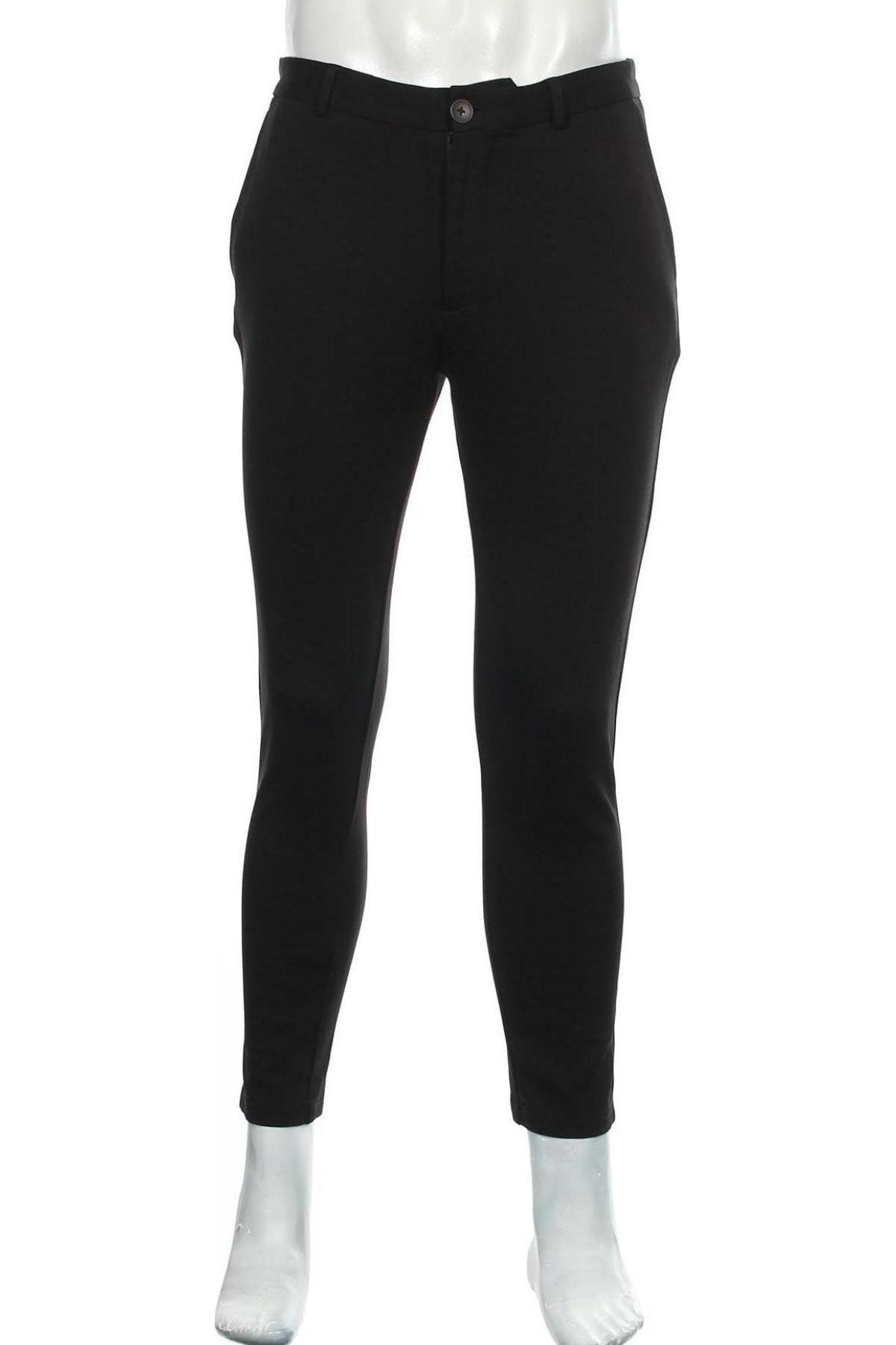 Мъжки панталон Jack & Jones, Размер M, Цвят Черен, 70% вискоза, 26% полиестер, 4% еластан, Цена 23,80лв.