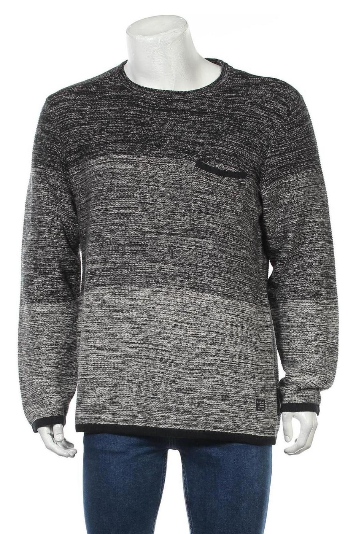 Мъжки пуловер Blend, Размер L, Цвят Сив, Памук, Цена 21,53лв.
