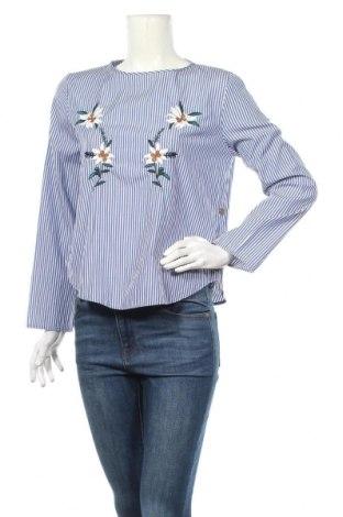Дамска блуза Zara, Размер L, Цвят Син, 69% полиестер, 31% памук, Цена 21,85лв.