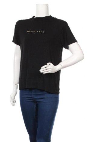 Дамска тениска Boohoo, Размер L, Цвят Черен, 95% вискоза, 5% еластан, Цена 15,08лв.