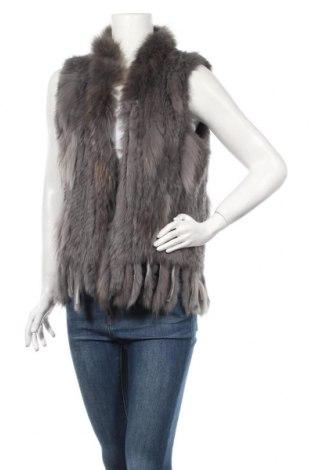 Dámska kožená vesta , Veľkosť L, Farba Sivá, Prírodná kožušina , Cena  46,49€