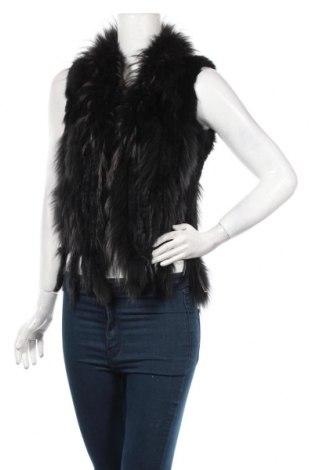 Dámska kožená vesta , Veľkosť M, Farba Čierna, Prírodná kožušina , Cena  47,63€