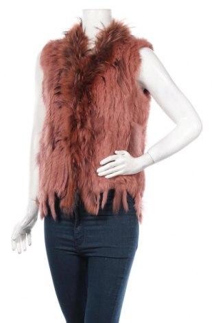 Dámska kožená vesta , Veľkosť L, Farba Ružová, Prírodná kožušina , Cena  47,63€