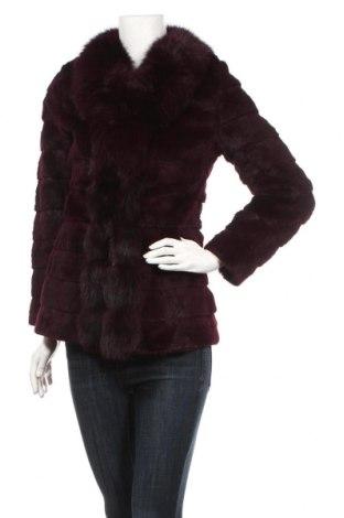 Дамско кожено палто, Размер M, Цвят Лилав, Естествена кожа, естествен косъм, Цена 131,25лв.