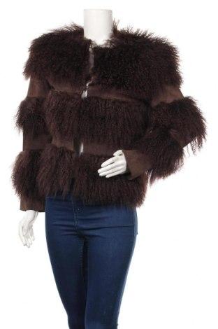 Дамско кожено палто Axel E. Delikat, Размер S, Цвят Кафяв, Естествена кожа, естествен косъм, Цена 197,40лв.