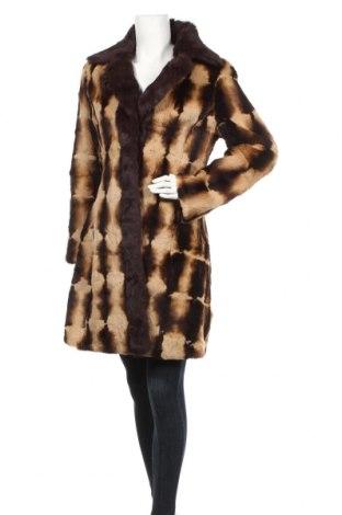 Дамско кожено палто Bebe, Размер L, Цвят Кафяв, Текстил, естествен косъм, Цена 165,90лв.