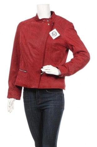 Дамско кожено яке Linea Tesini, Размер M, Цвят Червен, Естествен велур, Цена 131,25лв.