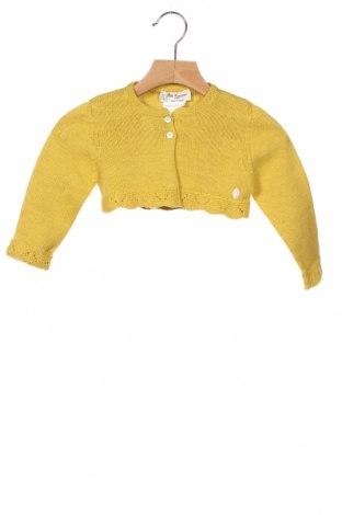 Детска жилетка Pili Carrera, Размер 12-18m/ 80-86 см, Цвят Жълт, 80% памук, 20% вълна, Цена 16,52лв.