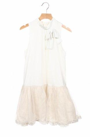 Детска рокля Tutto Piccolo, Размер 9-10y/ 140-146 см, Цвят Екрю, Полиестер, лен, памук, Цена 32,76лв.