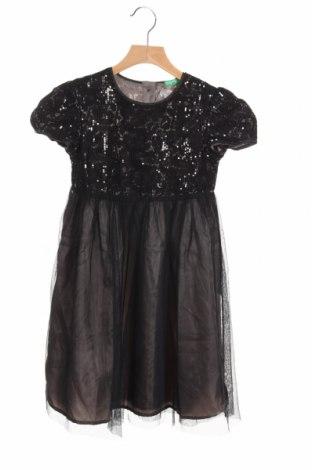 Детска рокля United Colors Of Benetton, Размер 7-8y/ 128-134 см, Цвят Черен, 52% полиамид, 48% памук, Цена 41,30лв.