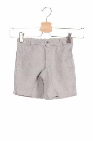 Детски къс панталон Tutto Piccolo, Размер 2-3y/ 98-104 см, Цвят Сив, 79% лен, 21% памук, Цена 13,86лв.
