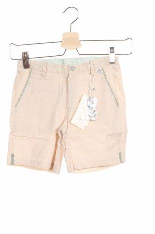 Детски къс панталон Tutto Piccolo, Размер 8-9y/ 134-140 см, Цвят Бежов, 59% памук, 41% лен, Цена 13,86лв.