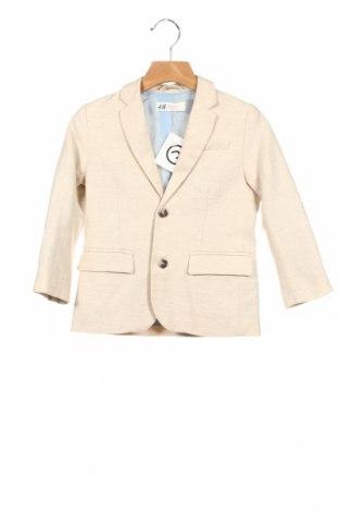Детско сако H&M, Размер 3-4y/ 104-110 см, Цвят Бежов, 76% памук, 24% лен, Цена 18,58лв.