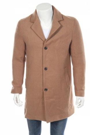 Męski płaszcz Jack & Jones, Rozmiar L, Kolor Brązowy, 75% poliester, 20% wełna, 5% inny materiał, Cena 372,50zł