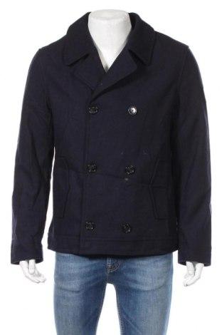 Męski płaszcz Q/S by S.Oliver, Rozmiar XL, Kolor Niebieski, 50% poliester, 30% wełna, 20% wiskoza, Cena 597,50zł