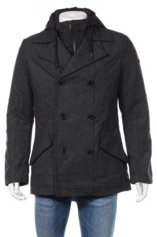 Męski płaszcz Q/S by S.Oliver, Rozmiar L, Kolor Szary, 50% poliester, 30% wełna, 20% wiskoza, Cena 522,50zł