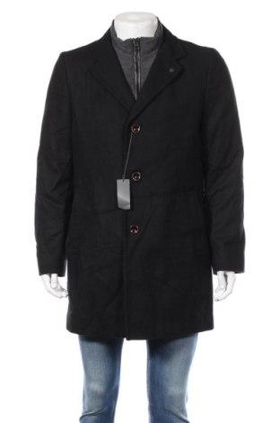 Męski płaszcz S.Oliver, Rozmiar XL, Kolor Czarny, 70% wełna, 20% poliester, 5% kaszmir, 5% poliamid, Cena 697,50zł