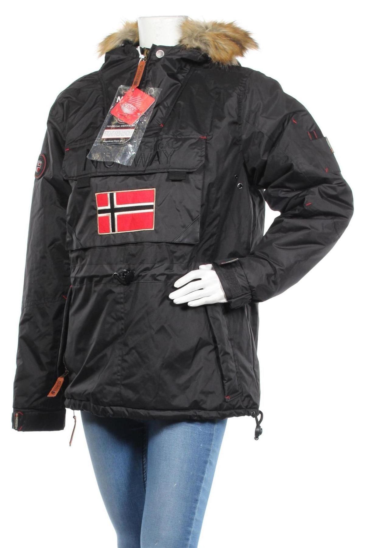 Дамско спортно яке Geographical Norway, Размер L, Цвят Черен, Полиестер, Цена 120,45лв.