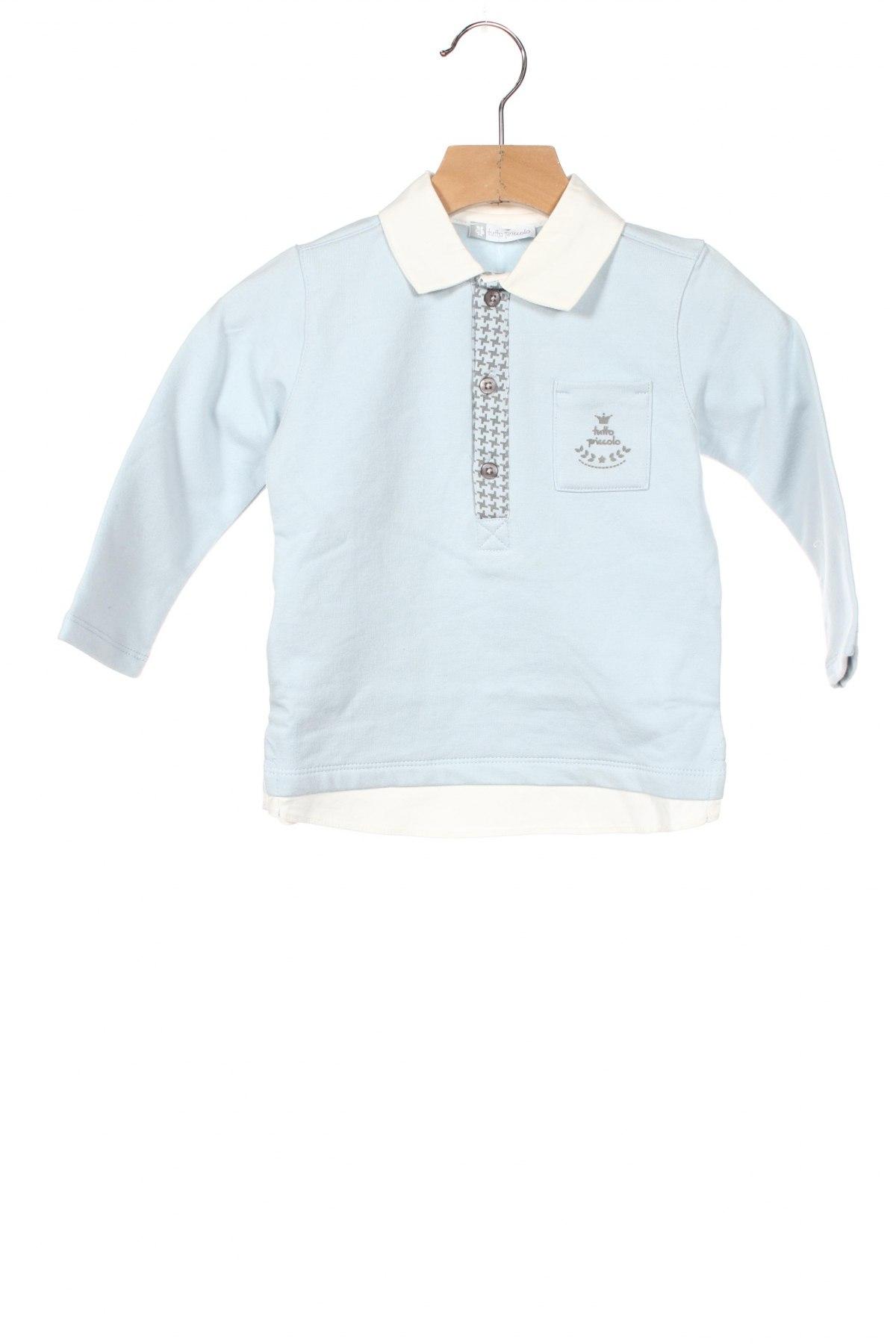 Детска блуза Tutto Piccolo, Размер 18-24m/ 86-98 см, Цвят Син, 95% памук, 5% еластан, Цена 26,60лв.