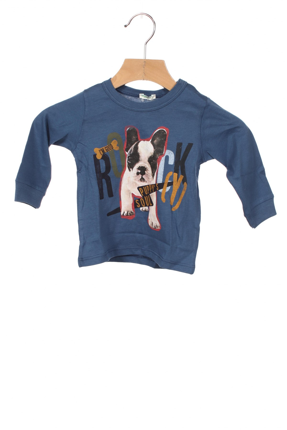 Детска блуза United Colors Of Benetton, Размер 2-3m/ 56-62 см, Цвят Син, Памук, Цена 21,00лв.