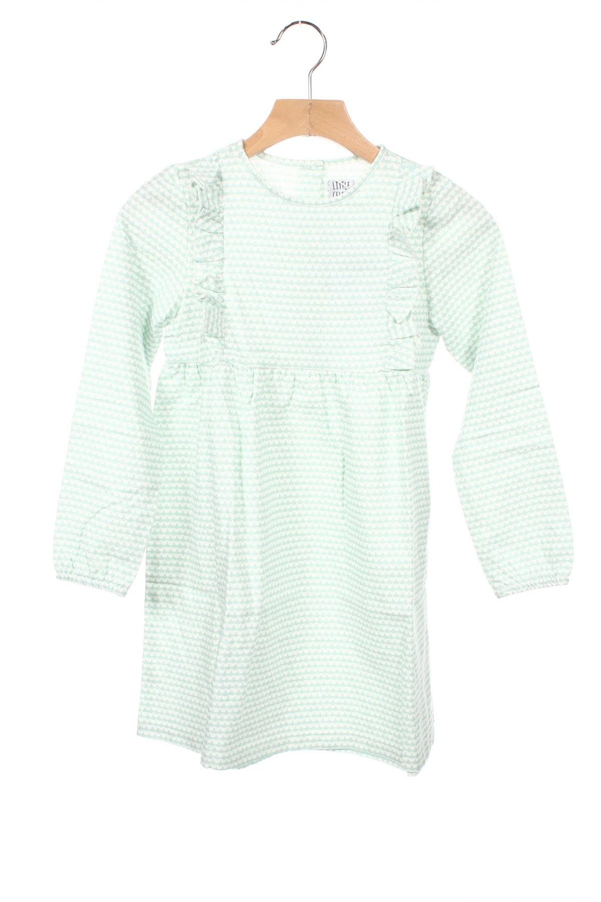 Детска рокля Little Celebs, Размер 5-6y/ 116-122 см, Цвят Зелен, Памук, Цена 32,20лв.
