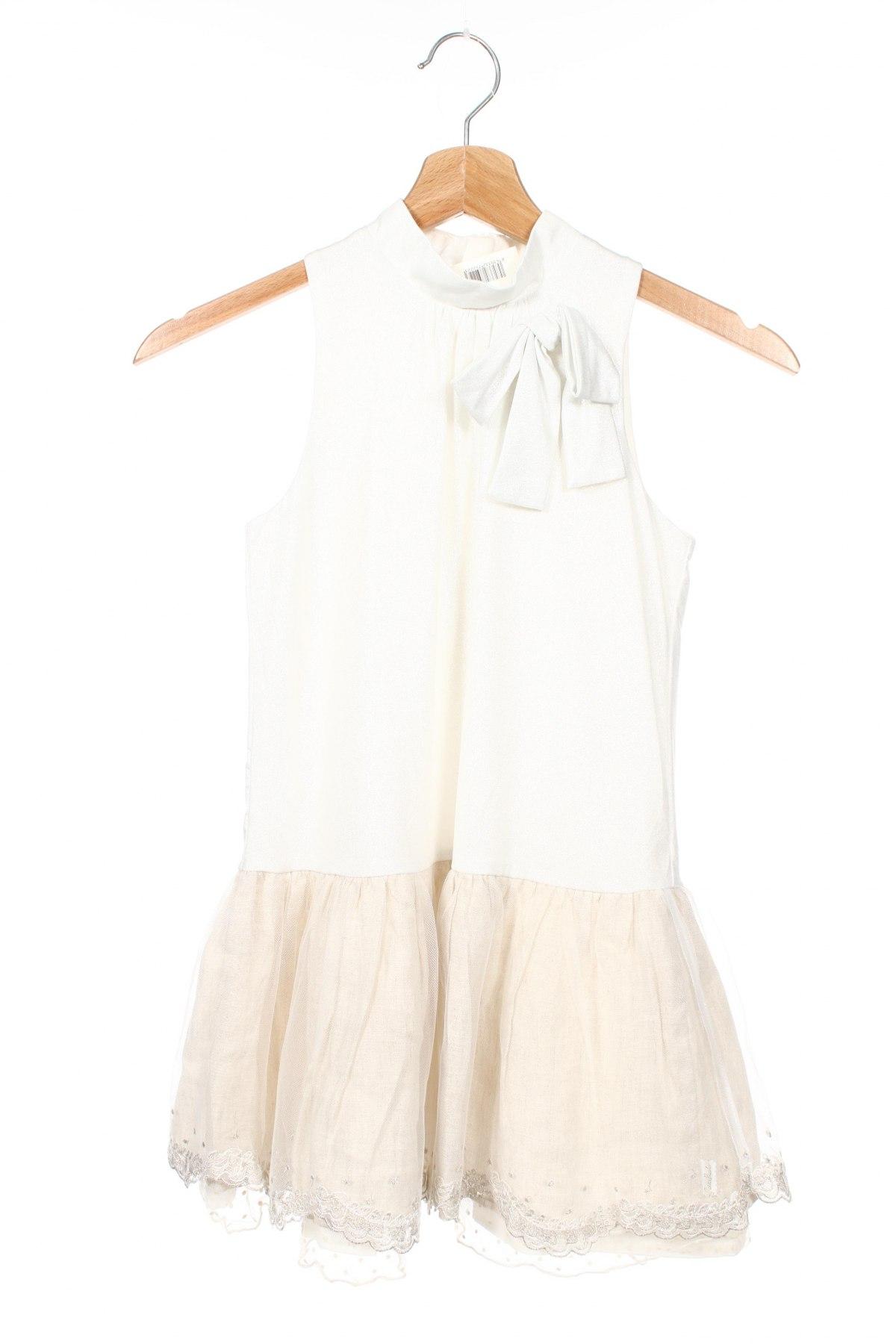 Детска рокля Tutto Piccolo, Размер 7-8y/ 128-134 см, Цвят Екрю, Полиестер, лен, памук, Цена 32,76лв.