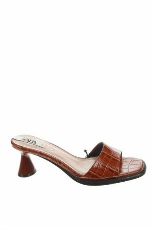 Papuci Zara, Mărime 37, Culoare Maro, Piele ecologică, Preț 116,45 Lei